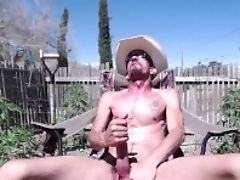 'cowboy Jacks Off In The Garden With The Chicks'