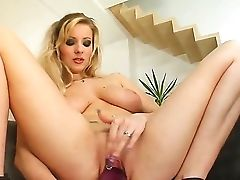 Sublime Blondy With Large Tits Allysia Bangs Her Soft Moist Gash With A Big Fat Fuck Stick