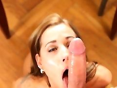Dreamy Looking Satin Bloom Naked And Down On Her Knees While Sucking And Deep-throating A Massive Pink Cigar