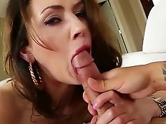 Sultry Brown-haired Floozy Sarah Shevon Suckles On Her Paramour's Hard Manhood And His Trimmed Plums
