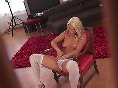 Blonde With Massive Breasts Is In The Mood For Vagina Finger-tickling