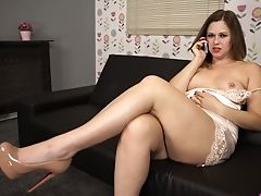 Chubby Chick Anna Joy Is Talking On The Phone And Frolicking Tastey Poon