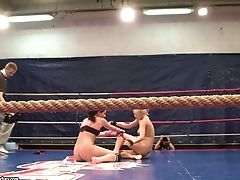 Nude Grappling Backstage With Angel Rivas And Niky Gold