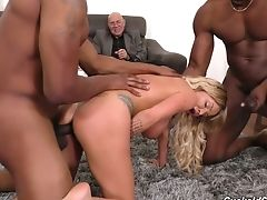 Old Pervert Pays To Observe Big-chested Blondie Rachele Richey Being Fucked Hard