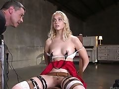 Ball-gagged Pallid Ash-blonde Chloe Cherry Is Trained For Horny Restraint Bondage Session