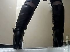 Milky Lady In Black Leather Boots Exposed Her Big Booty