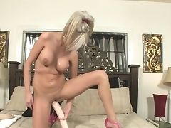 Blonde Tramp Kaley Hilton With Massive Knockers Makes No Secret Of Her Snatch And Melons
