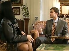 Pallid Skin Sassy Dark Haired Stunner Seduced And Fucked On The Couch