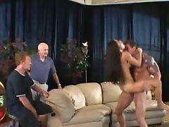 Fine Married Dark Haired Mummy Bi-atch With Faux Rock-hard Breasts Fucks Hard On The Couch
