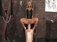 Asian Dom Sits On Damsels Face