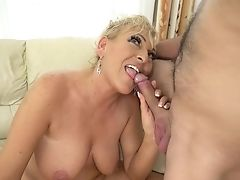 Blonde Takes Fellow's Pulsing Cane Deep Down Her Gullet